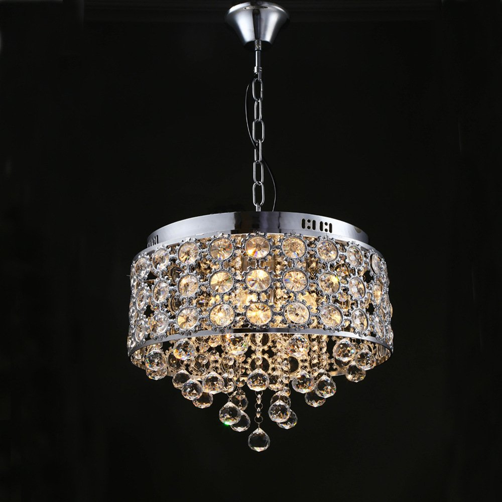 Lighting Groups American Country Crystal Dining Lighting Fixtures Chandeliers Creative Living Room Bedroom Restaurant Ceiling Pendent Lights (Silver)