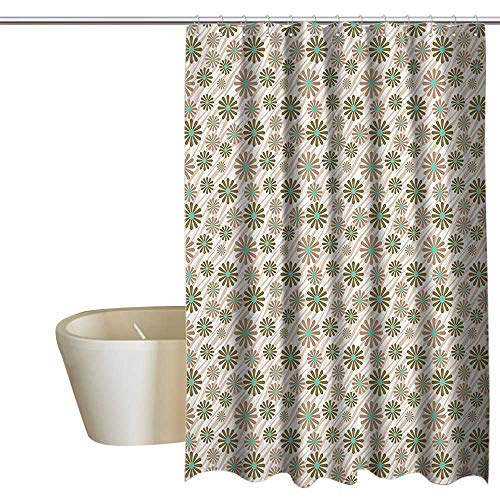 MaryMunger Animal Print Collection Shower Curtain with Hooks Flowers on Tiger Wild Animal Skin Lines Stripes Simple Fun Designed Artwork Custom Shower Curtain W108 x L72 Brown Green (Collection Northwoods Stripe)