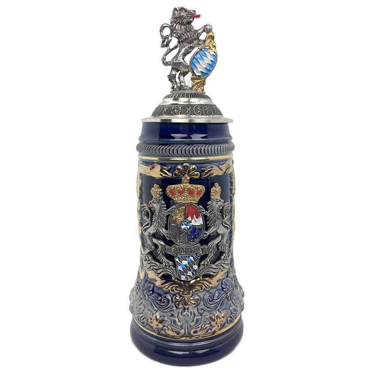 Regal Lion Lid Bayern Coat of Arms Zoller & Born .75L Stein