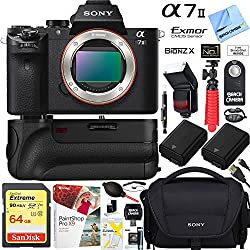 Sony A7 Ii 24.3mp Full-frame Mirrorless Interchangeable Lens Camera Body + 64gb Battery Grip & Memory Super Bundle