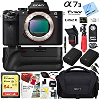 Sony a7 II 24.3MP Full-frame Mirrorless Interchangeable Lens Camera Body + 64GB Battery Grip and Memory Super Bundle