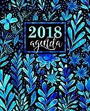 Agenda: 2018 Agenda semainier : 19x23cm : Magnifiques aquarelle de fleurs bleues
