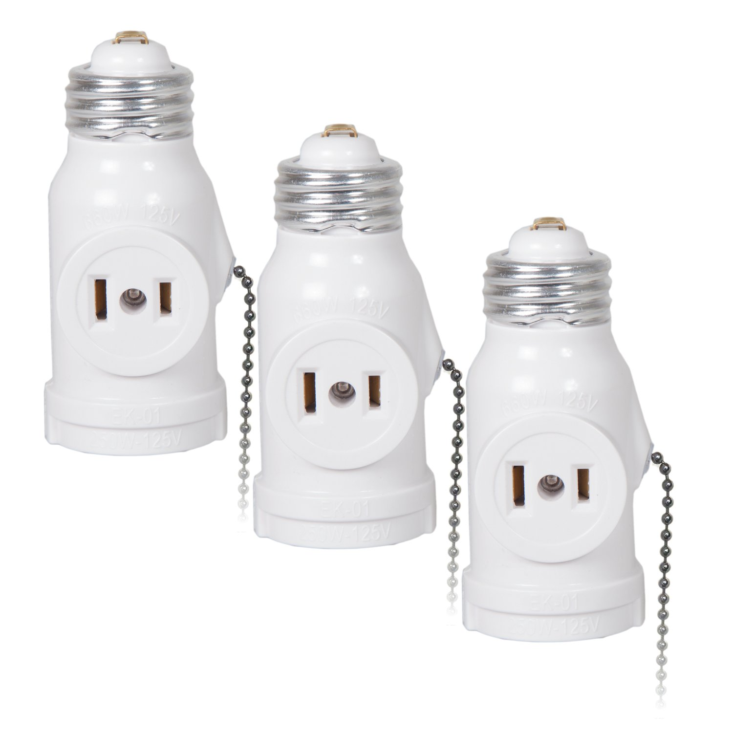 Maxxima Dual Outlet Light Socket Adapter, with Pull Chain, Turn E26 Standard Light Socket into Electrical Outlets (Pack of 3)