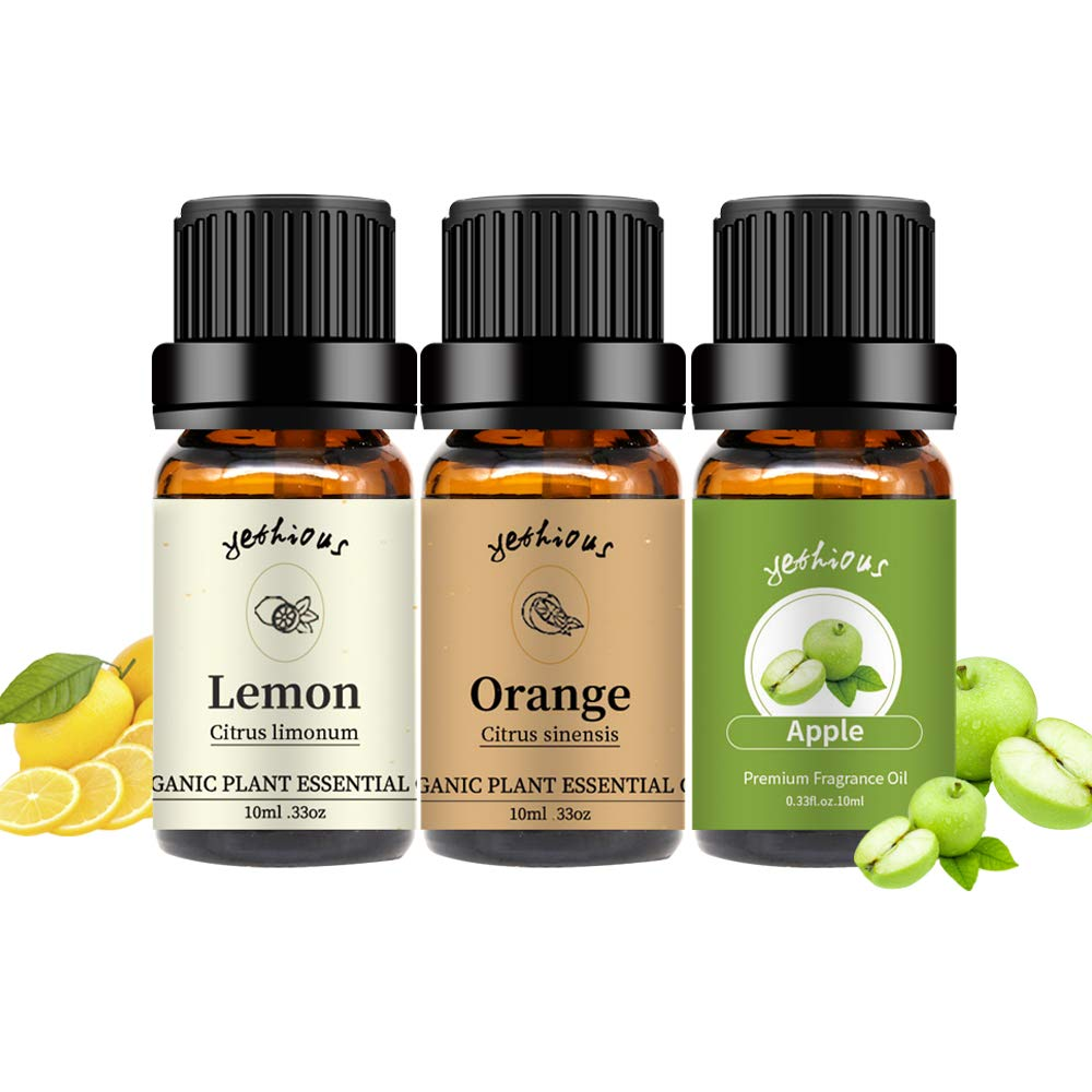 yethtious Orange Lemon Apple Essential Oil Set Pure 3 Pack Organic Massage Oil for Diffuser