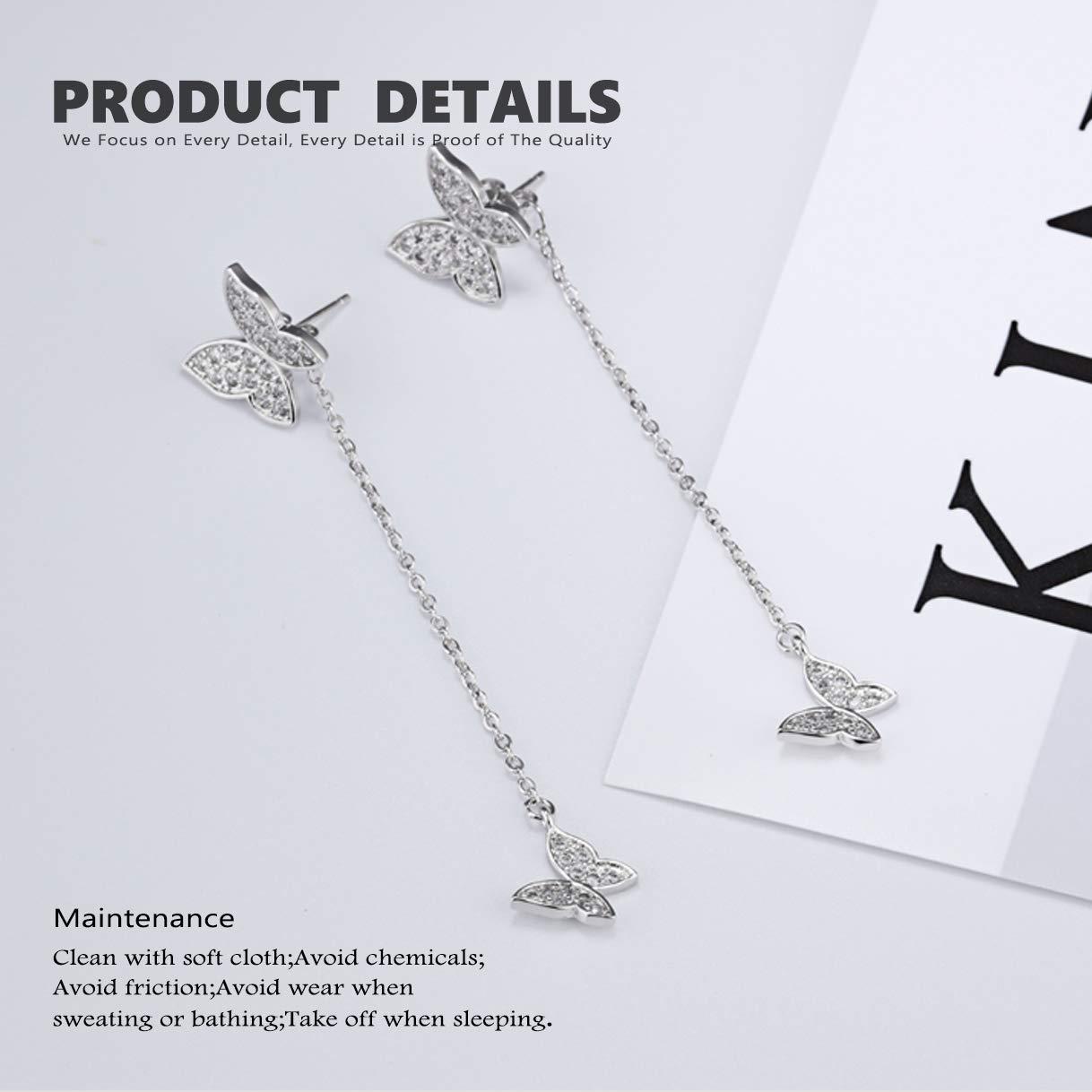 CHARMFAME White Gold Plated Copper Butterfly Drop Earrings CZ Inlaid Long Chain Tassel Dangle Earrings for Women /& Girls