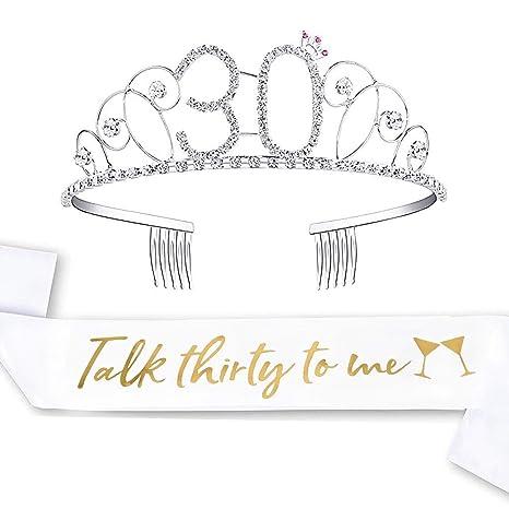Amazon.com: LAUMAY - Kit de 30 cumpleaños y tiara con corona ...