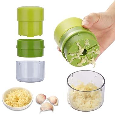 Yafook Garlic Press Chopper Crusher Machine Multifunction Mincer With Storage, Dishwasher Safe, Container Kitchen Gadget