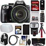 Pentax K-70 All Weather Wi-Fi Digital SLR Camera & 18-135mm WR Lens (Black) 64GB Card + Backpack + Flash + Battery + Tripod + Filters + Remote + Kit