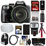 Pentax K-70 All Weather Wi-Fi Digital SLR Camera & 18-135mm WR Lens (Black) with 64GB Card + Backpack + Flash + Battery + Tripod + Filters + Remote + Kit For Sale