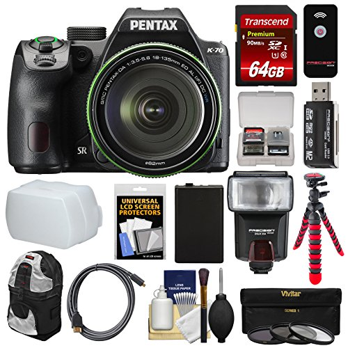 (Pentax K-70 All Weather Wi-Fi Digital SLR Camera & 18-135mm WR Lens (Black) with 64GB Card + Backpack + Flash + Battery + Tripod + Filters + Remote + Kit)