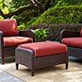 Crosley Kiawah Outdoor Wicker Ottoman with Sangria Cushions by Modern Marketing Concepts Inc