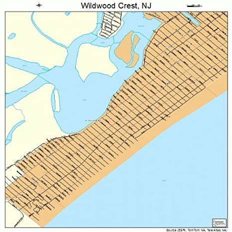 Map Of Wildwood Nj Streets Amazon.com: Large Street & Road Map of Wildwood Crest, New Jersey