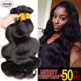SEXAY 100% Brazilian Virgin Human Hair Bundles,8A Unprocessed 14 16 18 inch body wave Remy Human Hair 3 Bundles wavy hair Extensions for Women Natural Black Color