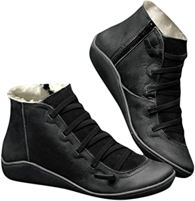 Casual Flat Leather Boots Retro Lace-Up