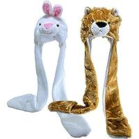 JK Home Pack de 2 sombreros de peluche para disfraz de animal con manoplas bufanda – Se adapta a adultos y niños – para…