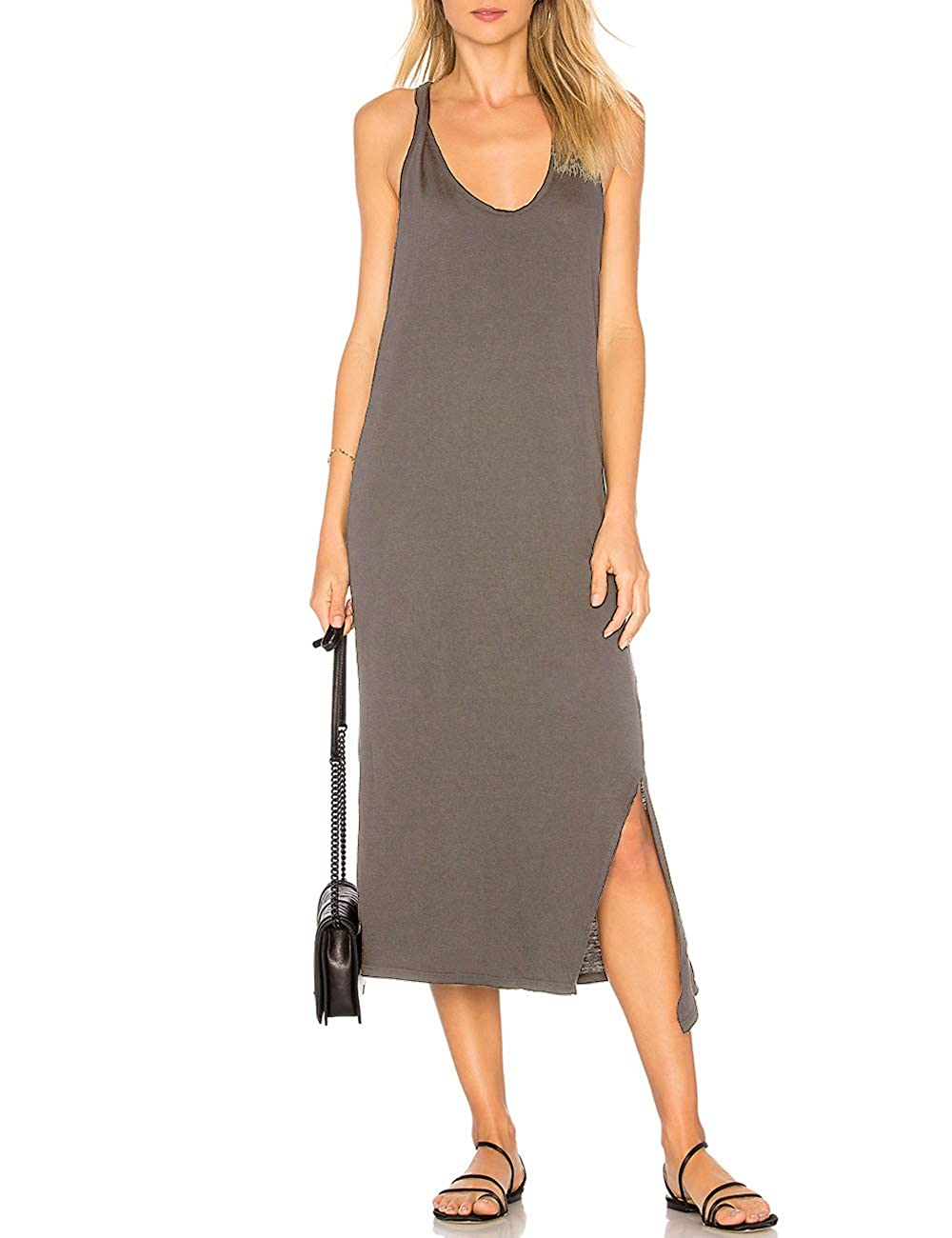 cd44d8cf6615 ALLY-MAGIC Womens Sleeveless Side Split Long Dress Casual Tank T-Shirt Midi  Dresses at Amazon Women s Clothing store