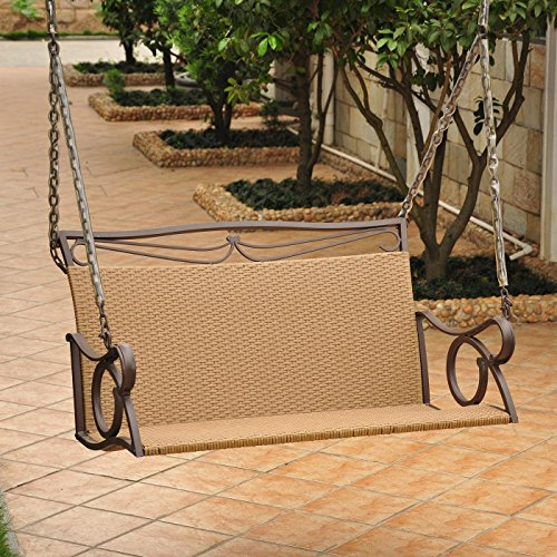International Caravan Wicker Resin/Steel Patio Porch Swing