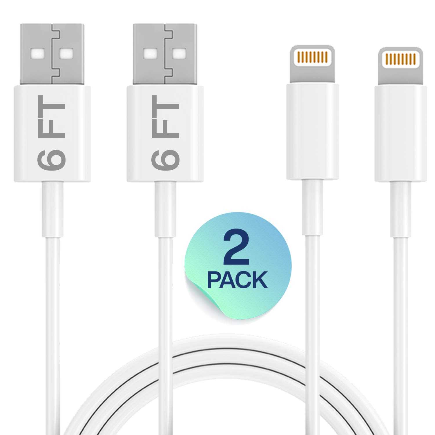for Apple iPhone Xs,Xs Max,XR,X,8,8 Plus,7,7 Plus,6S,6S Plus,iPad Air,Mini,iPod Touch,Case 2 Pack 6FT USB Cable Infinite Power iPhone Lightning Cable Set Fast Charging /& Syncing Cord