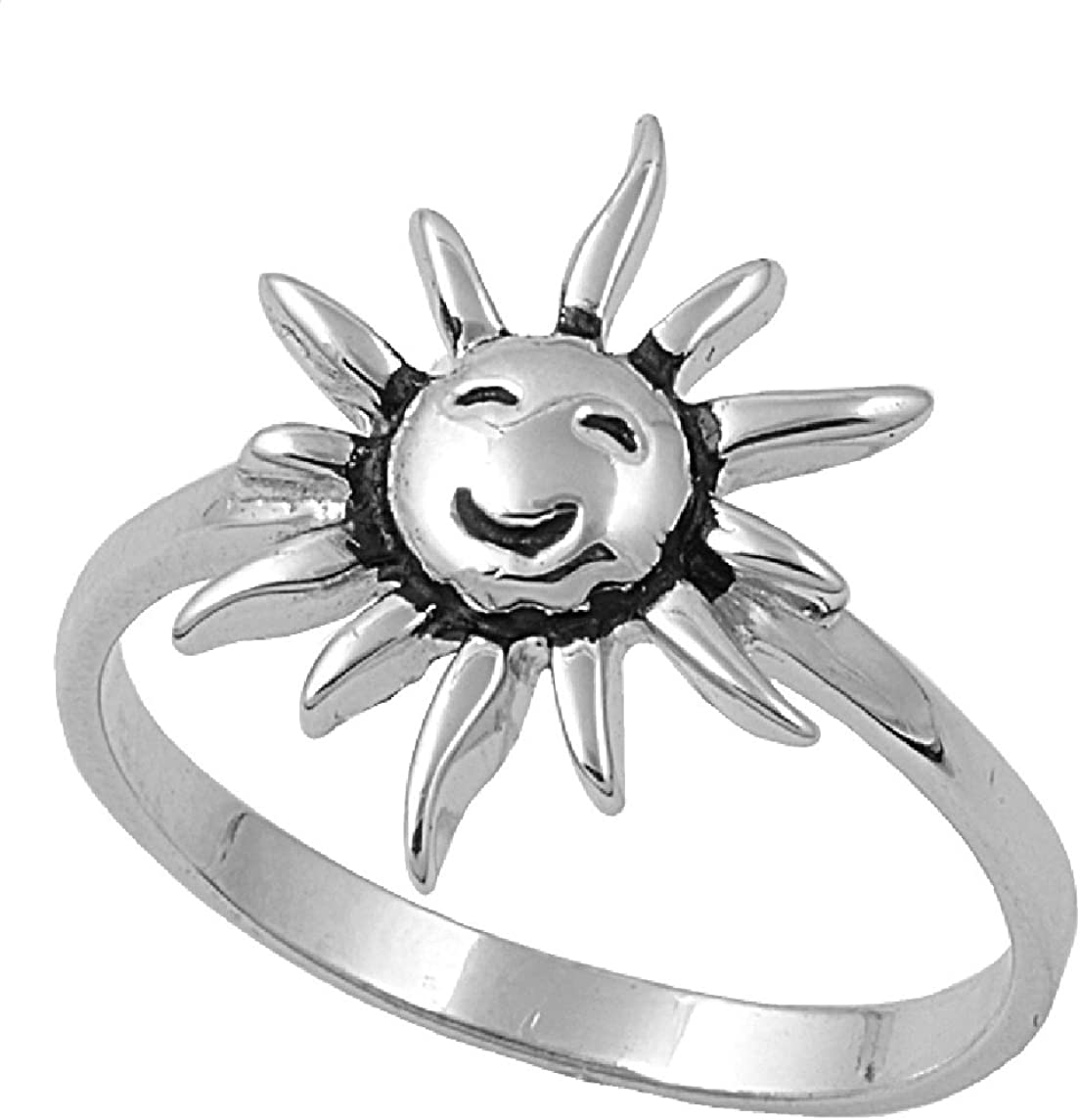 Princess Kylie 925 Sterling Silver Smiling Sun Ring