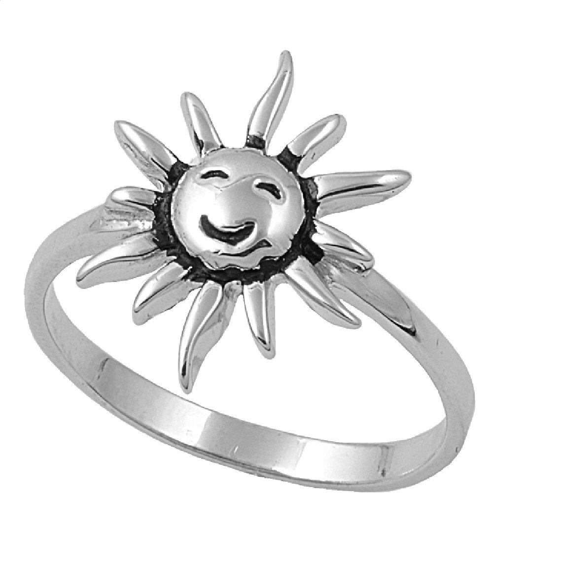925 Sterling Silver Smiling Sun Ring Size 7