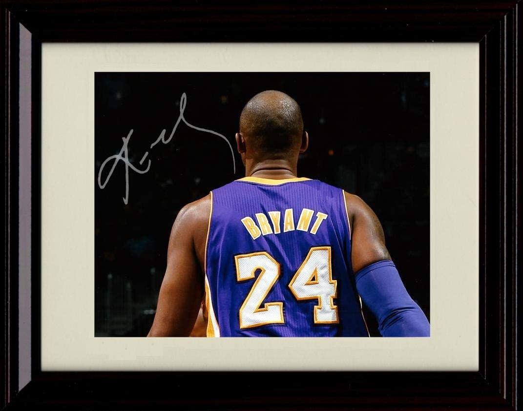 Back View Framed Kobe Bryant Autograph Replica Print Los Angeles Lakers