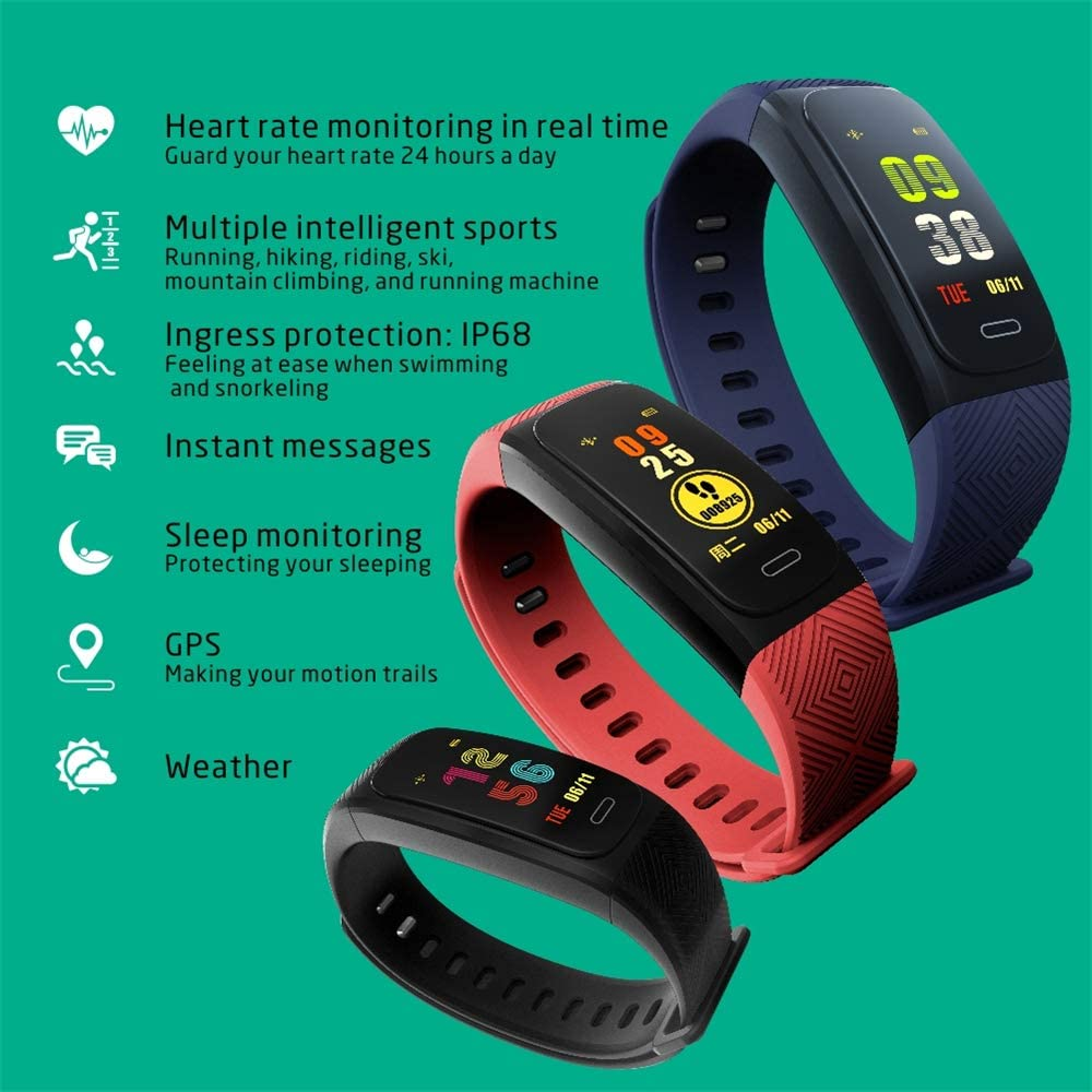 Black Pedometer for Women Men kids Fitness Tracker with Heart Rate Sleep Monitor UW200 GPS Position Activity Tracker Watch Waterproof Smart Bracelet with Step Calorie Counter Call/&SMS Reminder