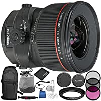 Canon TS-E 24mm f/3.5L II Tilt-Shift Lens 11PC Accessory Bundle – Includes 3 Piece Filter Kit (UV + CPL + FLD + Sling Backpack + MORE
