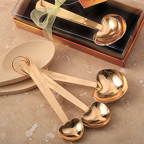 144 Set of 3 Love Beyond Measure Gold Stainless Steel Heart Shaped Measuring Spoons