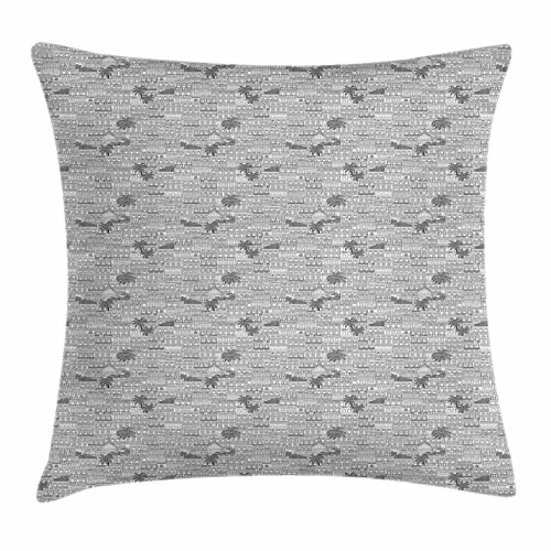 Lunarable Havana Throw Pillow Cushion Cover, Detailed Pencil Drawn Cuban Cities Architecture and Palm Trees, Decorative Square Accent Pillow Case, 40 X 40 inches, Charcoal Grey and Off White -