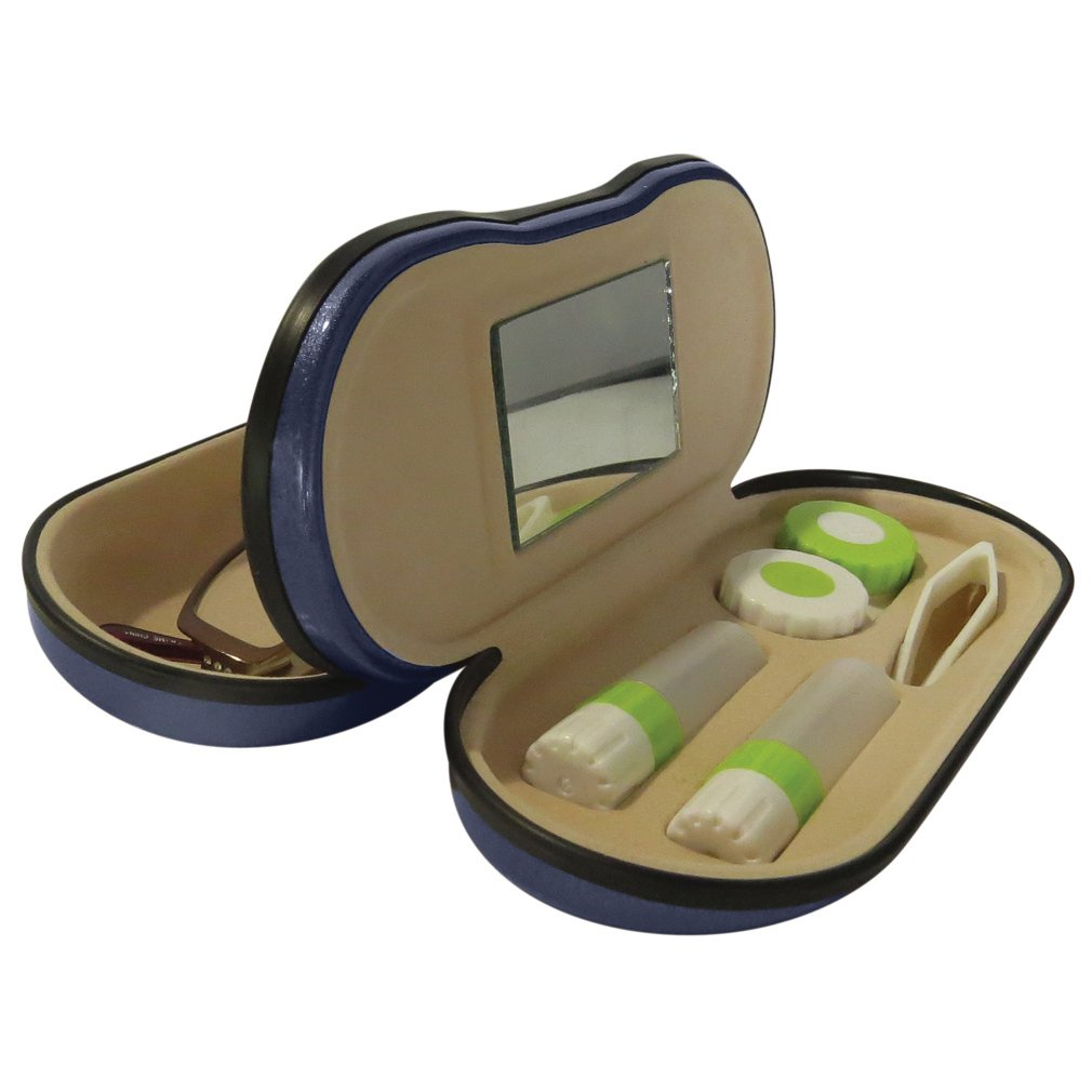 Evelots Dual Sided 2 in 1 Glasses & Contacts Protective Clamshell Carrying Case