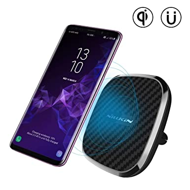 Nillkin 10W Fast Wireless Car Charger, [Rotatable] 2-in-1 Wireless Charging  Pad & Stronger Magnetic Car Mount Holder for iPhone XS/XS Max/X/X/8