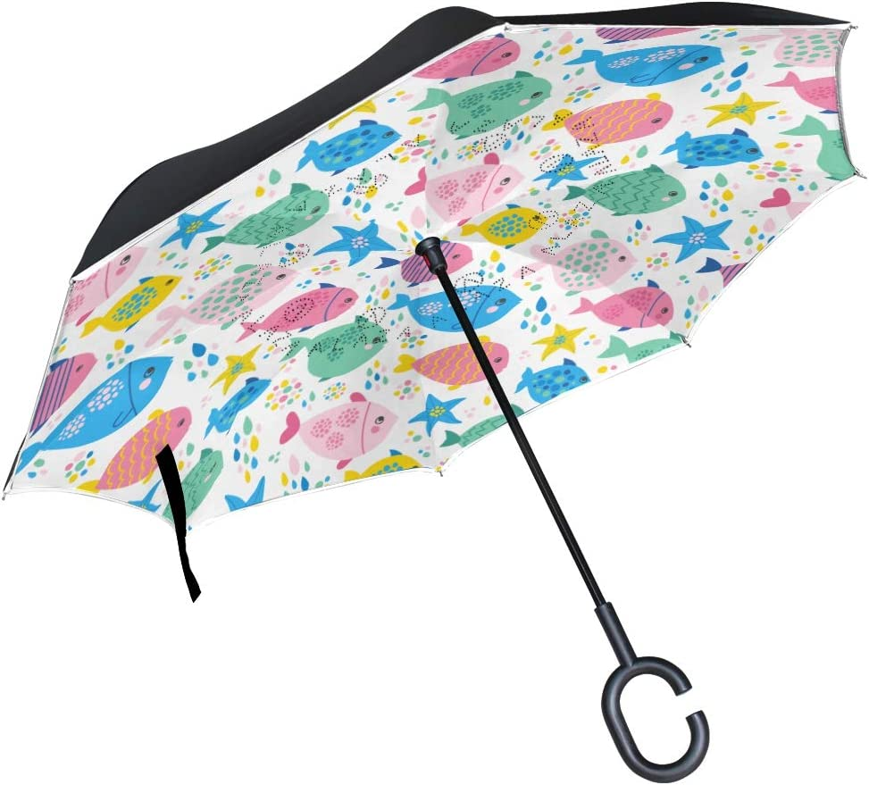 Fishes And Sea Stars In Bright Colors Double Layer Windproof UV Protection Reverse Umbrella With C-Shaped Handle Upside-Down Inverted Umbrella For Car Rain Outdoor