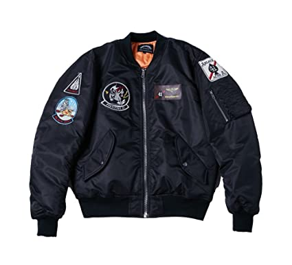 AVIDACE Classic Bomber Jacket Men Nylon Quilted with Patches at ...