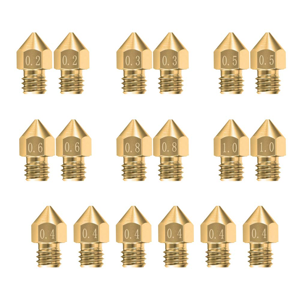 Saiper 18pcs MK8 Extruder Nozzle 3D Printer Extruder Brass Nozzle Print Head with 7 Different Sizes (0.2mm, 0.3mm, 0.4mm, 0.5mm, 0.6mm, 0.8mm, 1.0mm) for 1.75mm MK8 Makerbot, ANET A8 and CR-10 Printer