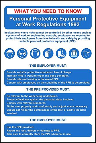 Personal Protective Equipment Regs (PPE) Poster Sign - Aluminium Sign 8X12 Inch