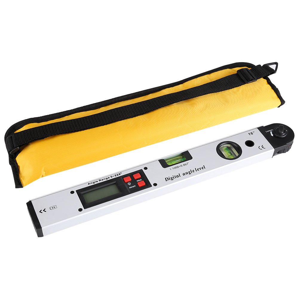 0-225° Digital Angle Gauge Digital Inclinometer Meter Protractor Angle Finder Ruler Tool with LCD Display & Blue Backlight Vertical Horizontal Dual Spirit Level 16 Inch
