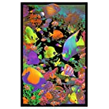 "HommomH 50"" x 80"" Blanket Comfort Warmth Soft Tapestry Wall Decor Living Reef Blacklight Fish"