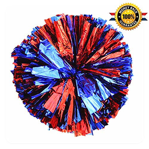 PUZINE Cheerleading Metallic Foil & Plastic Ring Pom Poms Cheerleading Poms Pack of 2 (red and Blue) ()