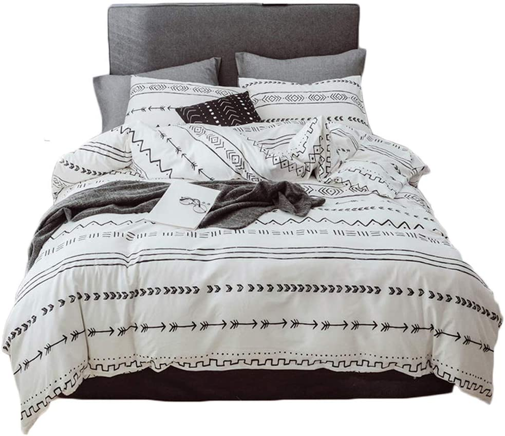 Helehome Bohemian Duvet Cover Set 100% Cotton Bedding Watercolor Boho Chic Printed in Black White and Gray Grey with Zipper Closure (3pcs, Queen Size)