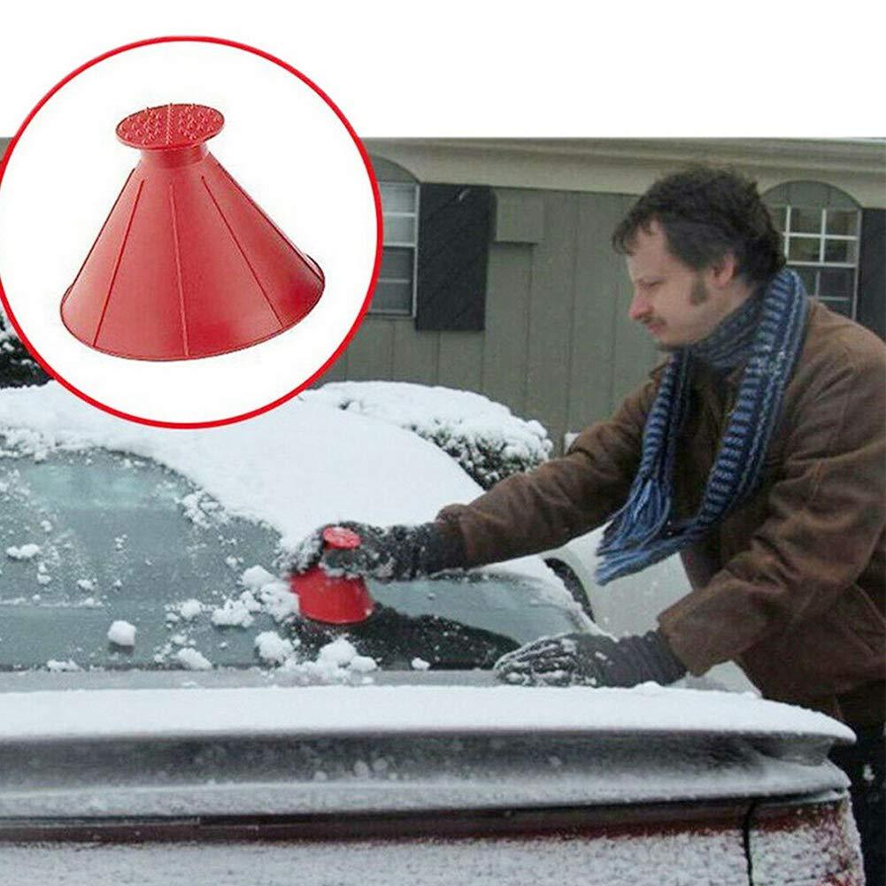 10.5cm Tuankayuk Grattoirs /à Neige Rond Grattoir de Vitre Pare-Prise Fen/être Hiver Magical Car Ice Scraper pour Auto SUV Voitures Camions Camionnettes 14.5 Rouge