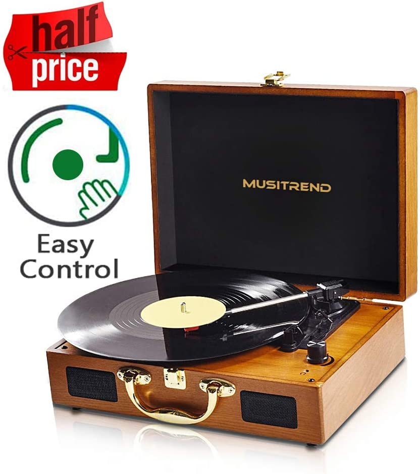 Wood Record Player Belt-Driven 3-Speed Turntable, Vintage Vinyl Record Players with Speakers, Headphone Jack/ Aux Input/ RCA Line Out (Wooden-Brown)