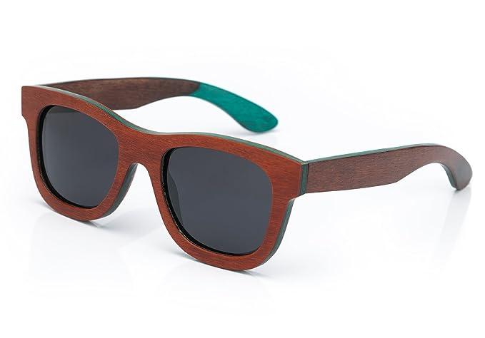 4sold – Lunette de soleil unisexe en bois ou bois de bambou et polarisée style rétro vintage UV 400, femme Homme, wood blue