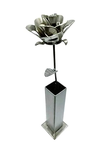 Steel Forever Roses with Vase Centerpiece