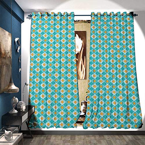 - BlountDecor Window Curtain Fabric Soft Oval Shapes Pattern with African Civilizations Inspirations Lined Motifs Patterned Drape for Glass Door W72 x L96 Turquoise Marigold