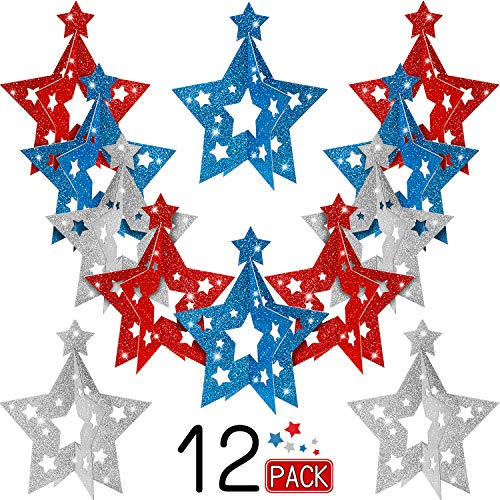 12 Pieces Patriotic Party 3D Centerpieces Mini Five-pointed Star Glitter Table Centerpieces for 4th of July Decoration