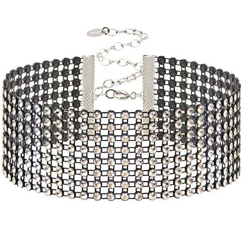 Choker Necklace Black Diamond Rhinestone Mesh Choker with 18K White Gold Plated Closure.Length: 12