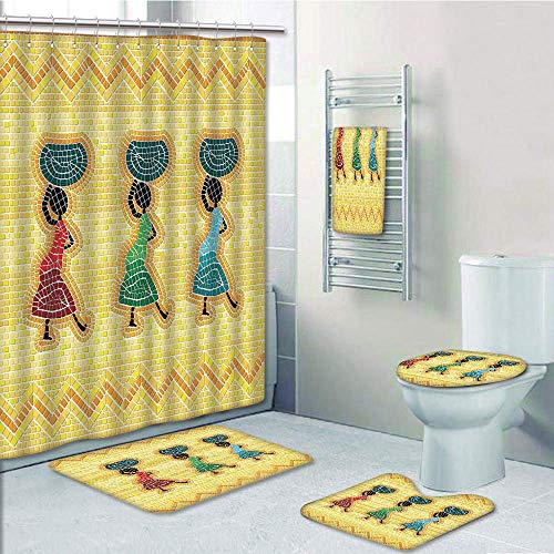 Bathroom 5 Piece Set Shower Curtain 3D Print Multi Style,Primitive,Mosaic Pattern of an African Scene with Women Carrying Food Basket Traditional,Multicolor,Bath Mat,Bathroom Carpet -