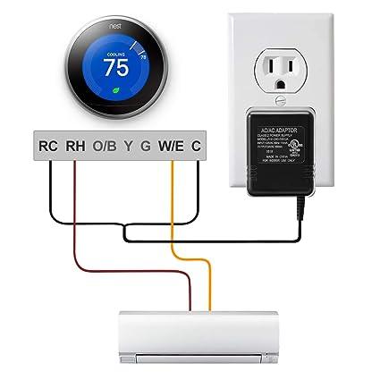 24V Thermostat Transformer,LANMU AC 24V C-Wire Power Supply Adapter for  Honeywell,Nest,Emerson Sensi WiFi Smart Thermostat Ecobee3 Ecobee4
