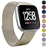 Onedream For Fitbit Versa Bands Champagne For Women Men, Accessories For Fitbit Versa Smartwatch & Special Edition, Metal Mesh Milanese Replacement Bands Wristbands Bracelet Strap, Small