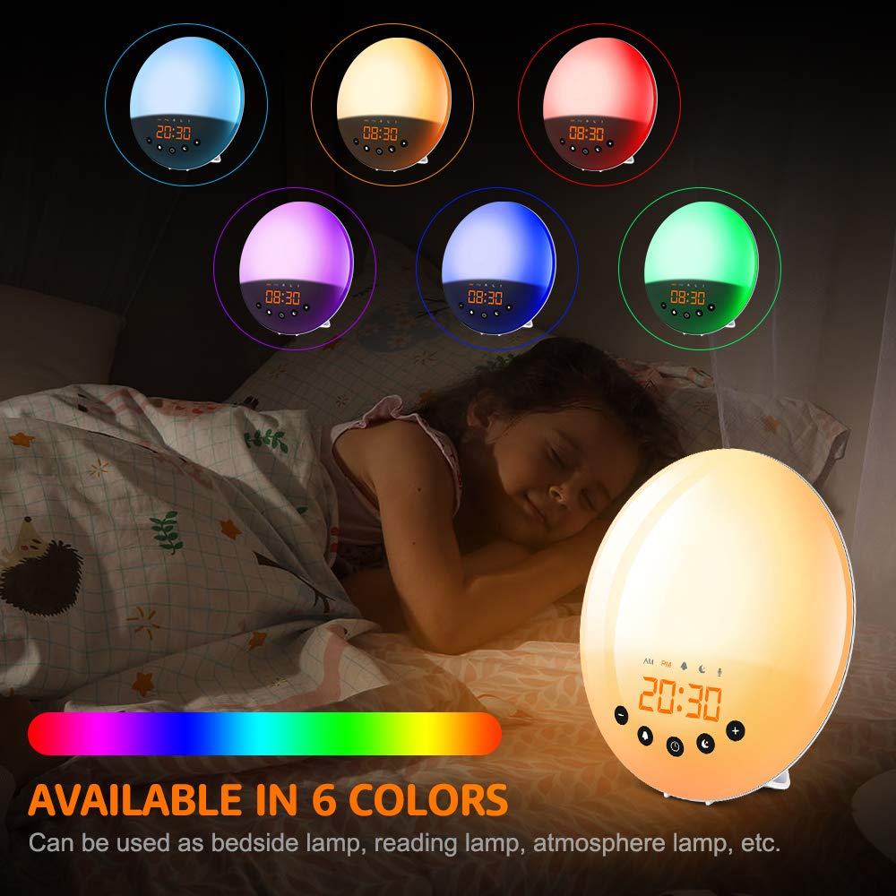 Snooze Function Eastshining Alarm Clock Wake-up Light 30 Brightness Levels Touch Control and USB Cable 8 Sounds Sunrise//Sunset Simulation Table Bedside Lamp LED Mood Light with FM Radio